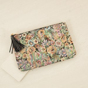 Iridescent Rose Canvas Tassel Zip Top Clutch
