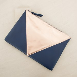 Tri Panelled V Rectangle Clutch