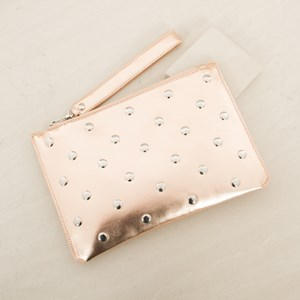 Metal Disk Studs Tab Zip Top Clutch