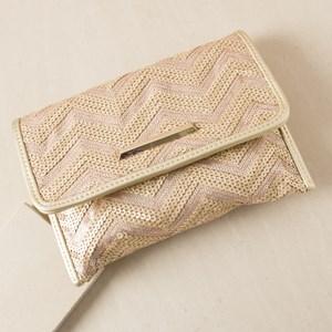 Matte Zig Zag Sequin Fold Over Clutch