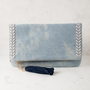Denim & Tassel Foldover Clutch
