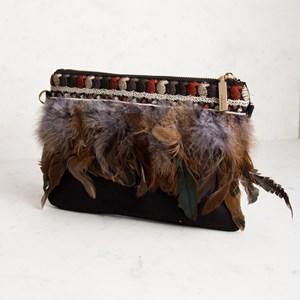 Feather & Mini Tassel Zip Top Clutch