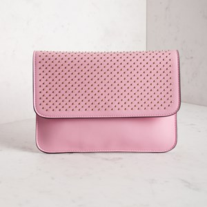 Curved Edge Simple Stud Foldover Clutch