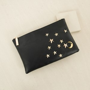 Stars & Moon Zip Top Clutch