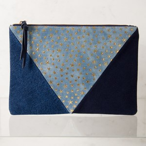 Denim Star & Suede Tri Panelled Clutch