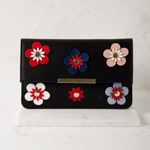 3D Flowers Small Flap Over Clutch