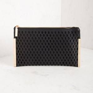 Diamond Cut Out Slim Zip Top Clutch