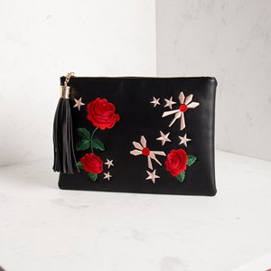 Embroidered Rose & Stars Tassel Clutch