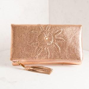 Metallic Flower & Pearl Tassel Flap Over Clutch