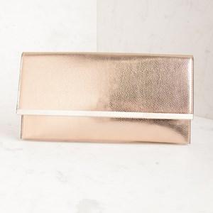 Metallic Metal Bar Flap Over Slim Clutch