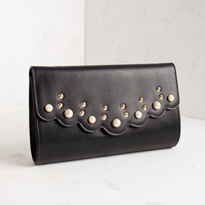 Pearl & Stud Scalloped Flap Over Clutch