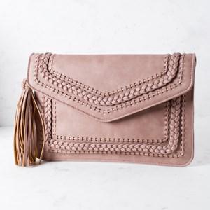 Plait & Weave Tassel Side Flap Over Clutch