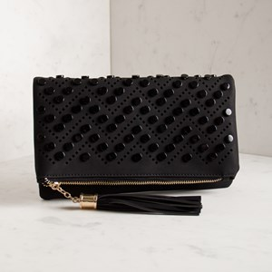Resin Disks Cut Out Tassel Fold Over Clutch