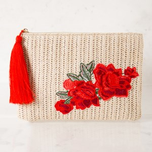 Woven Embroidered Flowers Tassel Clutch