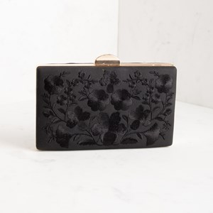 Embroidered Floral Faux Suede Structured Clutch
