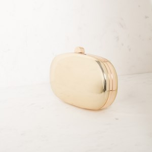 High Shine Metallic Oval Structured Clutch