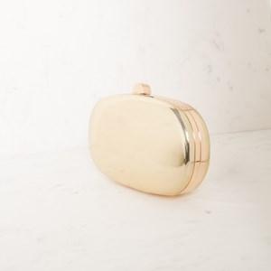 High Shine Metallic Oval Structured Clutch