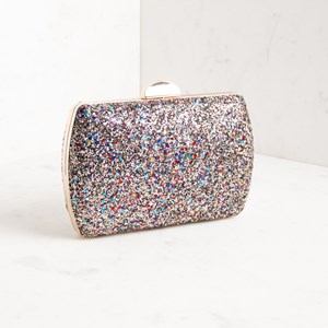 Textured Glitter Rectangle Structured Clutch