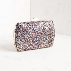 Textured Glitter Rectangle Structured Clutch