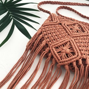 Square Macrame Flap Over Bag