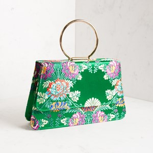 Metal Ring Flap Over Oriental Floral Satin Small Bag