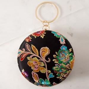 Metal Ring Round Oriental Floral Satin Clutch