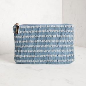 Distressed Stripe Denim Zip Purse