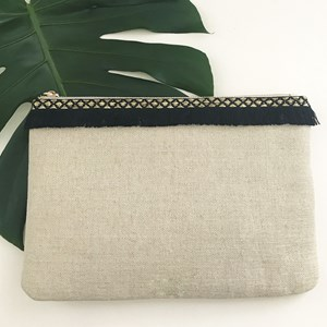 Fringe Top Natural Weave Clutch