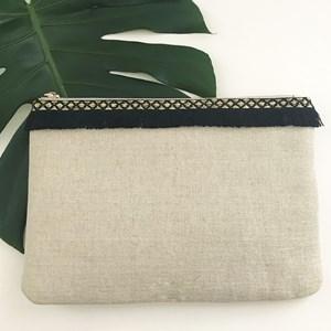 Fringe Top Natural Weave Clutch