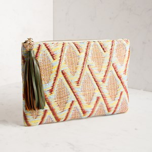 Mixed Weave Tassel Zip Top Clutch