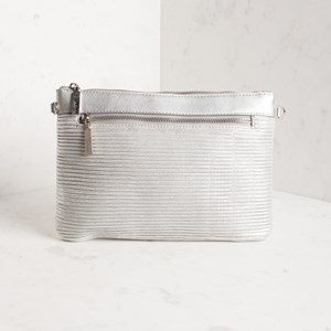 Pleated Metallic Zip Front Clutch