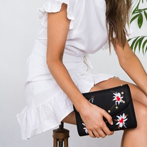 Embroidered Flap Over Circle Closure Clutch