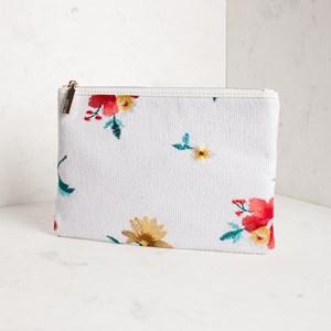 Embroidered Flower Sequin Zip Top Clutch