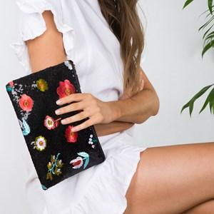 Embroidered Poppy Sequin Zip Top Clutch