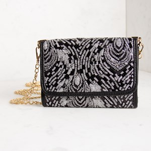 Peacock Sequined Curved Mini Fold Over Clutch