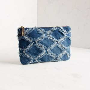 Frayed Denim Zip Top Pouch