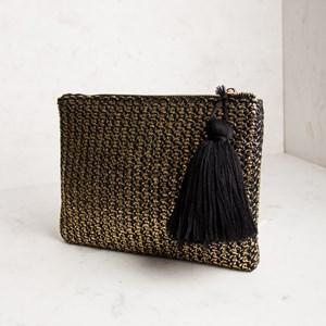 Metallic Weave Large Tassel Clutch