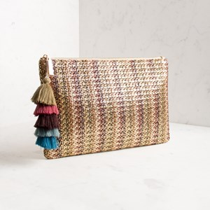 Metallic Weave Tiered Multi Tassel Clutch