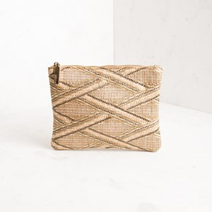 Weave Front Zip Top Pouch