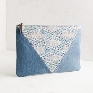 Weave & Denim Panelled Zip Top Clutch