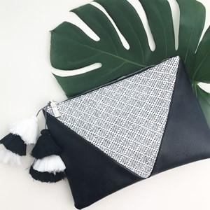 Weave Panel Multi Tier Tassel Clutch