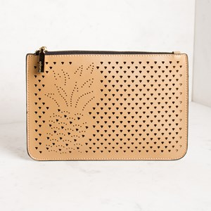 Pineapple Cut Out Zip Top Clutch