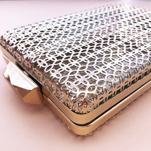 Patterned Cage Clip Top Clutch