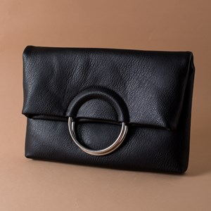 Ring Handle Fold Over Clutch