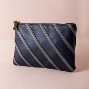 Diagonal Stitched Zip Top Clutch