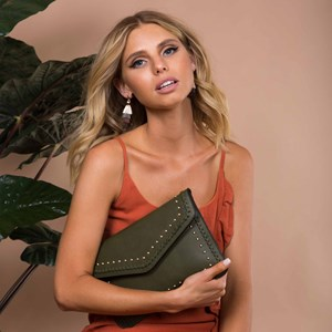 Stud & Stitch Front Flap Over Clutch