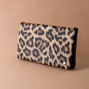 Leopard Print Flap Over Clutch