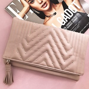 Quilted Mini Stud Tassel Clutch