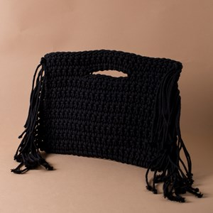 Cut Out Handle Knitted Fringe Clutch