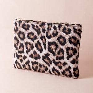 Textured Leopard Chunky Zip Top Clutch